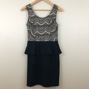 Under Skies Black and Nude Lace Peplum Dress S